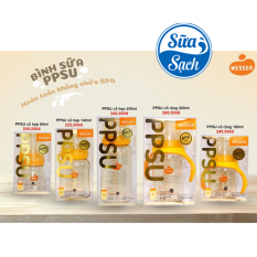 [HCM]Bình Sữa PPSU Wesser Cổ Hẹp/Cổ Rộng Đủ Size Mẫu Mới 2020
