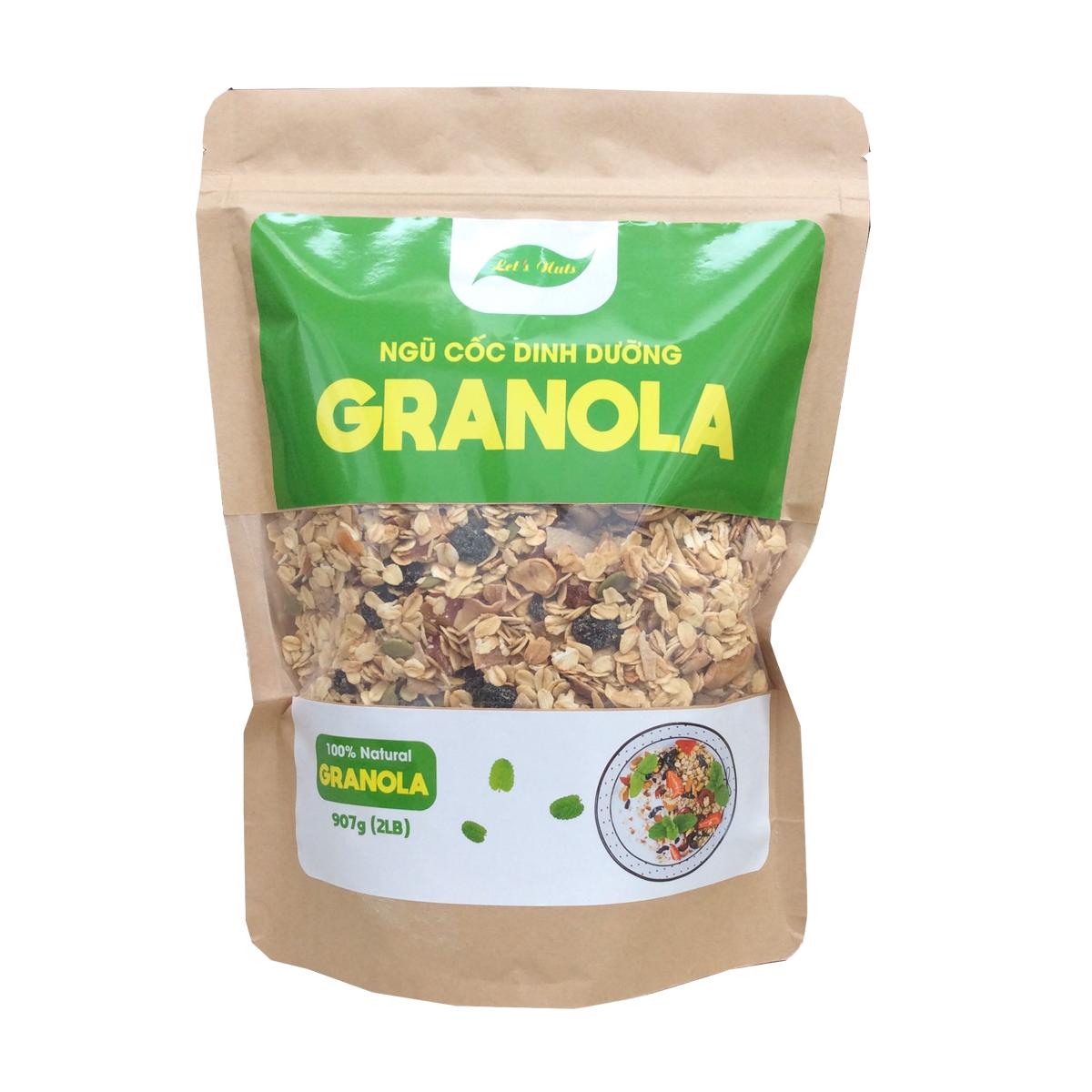 Ngũ cốc ăn kiêng Granola Let's Nuts làm từ yến mạch, mật ong, hạnh nhân, nho khô, bí xanh, dừa, hạt điều dành cho người bận rộn, giảm cân, ăn vặt văn phòng túi 907g