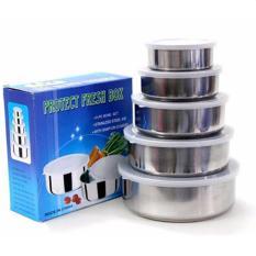 Bộ 5 Hộp Đựng Thực Phẩm Bằng Inox (Màu Bạc) -Hộp Inox đựng thực phẩm bảo quản thức ăn cho tủ lạnh cao cấp có nắp đậy
