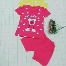 Đồ bộ quần áo thun cotton tay ngắn kiểu hở vai size nhỡ cho bé gái từ 18kg đến 35kg( màu đỏ hồng)