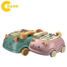 Đồ chơi điện thoại bàn hình con mèo có bánh xe – Điện thoại ô tô có nhạc và đèn cho bé