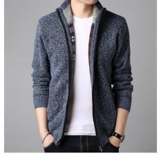 Áo khoác len nam lót lông LAHstore, thiết kế cổ trụ, len lông ấm áp, thời trang trẻ, phong cách Hàn Quốc
