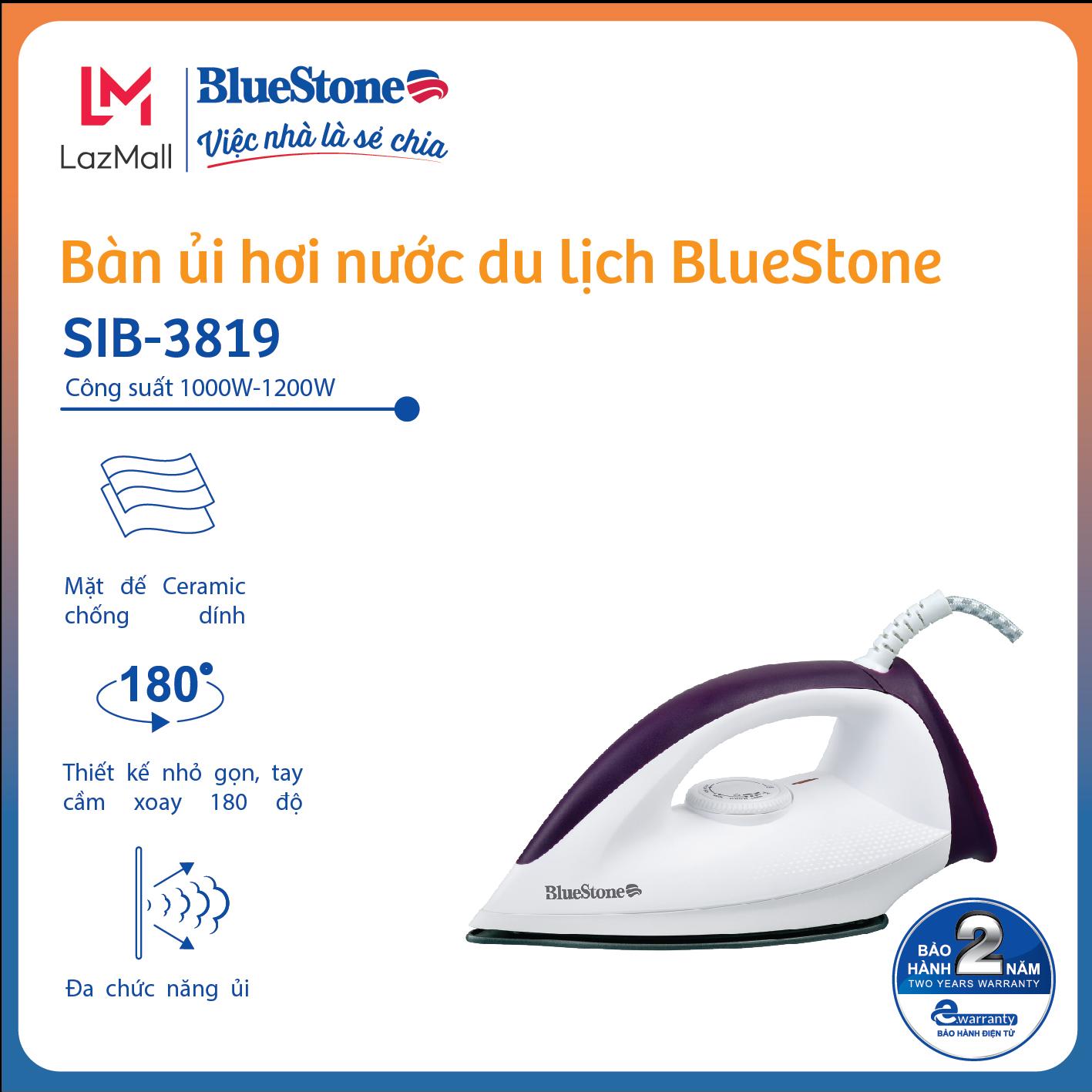 [Còn 244k] Bàn ủi khô BlueStone DIB-3726 - Công suất 1300W - Bảo hành 24 tháng - Hàng Chính hãng