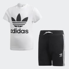 adidas ORIGINALS Bộ áo phông quần short Trefoil Unisex trẻ em Màu trắng DW9709
