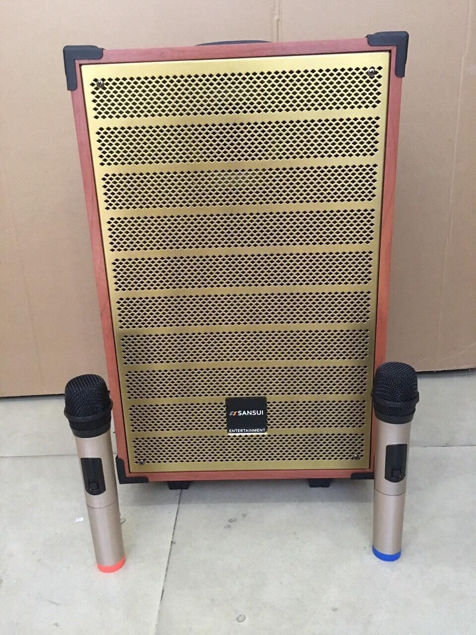 Loa kẹo kéo karaoke Sansui SG 12-18 loa thùng gỗ dày bass 3 tấc siêu hay