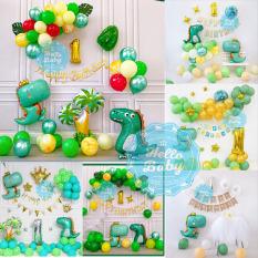 Set bóng trang trí sinh nhật chủ đề khủng long cho bé (Bơm + Băng Keo)