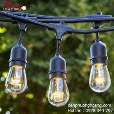 Dây đèn kín nước thả ngoài trời 5 mét 10 đui đèn E27