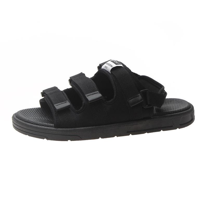 (Có 3 Màu) Sandal nam nữ 3 quai ngang Sport đen đế trắng siêu chất - B end T Shop