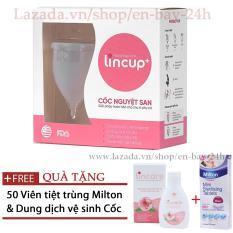 Cốc nguyệt san Lincup Lincup Plus + Tặng 50 viên tiệt trùng + Cốc tiệt trùng + Dung dịch Lincare