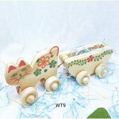 Đồ chơi gỗ mèo kéo xe WT009