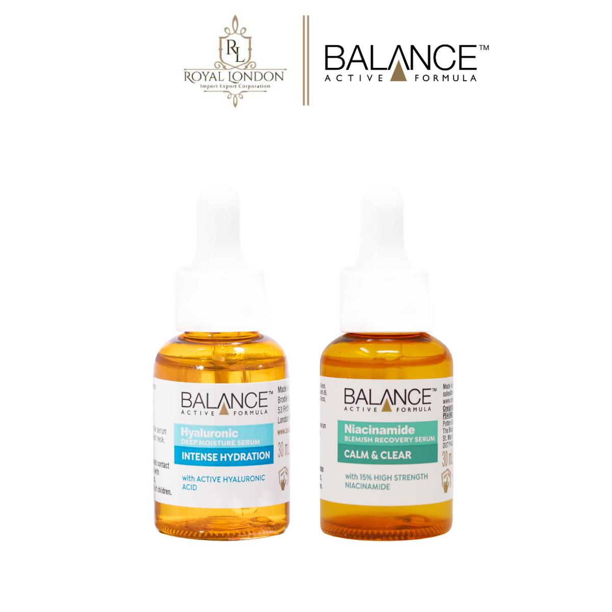 Combo serum phục hồi, làm dịu và cấp ẩm da Balance Niacinamide và Hyaluronic 30ml/chai
