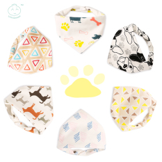 Little Dimsum Baby Bib Adjustable BANDANA Bibs Triangle Set 6 PCS Soft and Absorbent Cute Baby Bibs for Teething Drooling (0-3 Years) 10033 boy