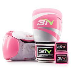 Combo găng tay Boxing + băng quấn tay BN ( Hồng )