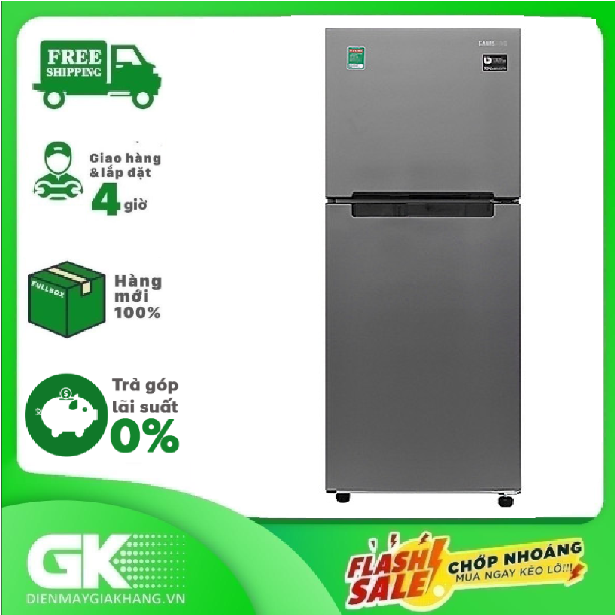TRẢ GÓP 0% – Tủ lạnh Samsung Inverter 208 lít RT19M300BGS/SV