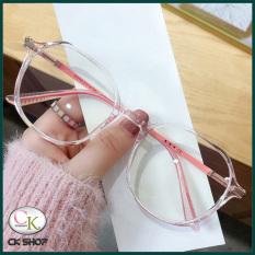 Gọng kính cận nữ – nam mắt tròn kim loai/nhựa 2503 màu xanh, hồng, tím, đen. Tròng kính giả cận 0 độ chống ánh sáng xanh, chống nắng và tia UV (Tia cực tím)