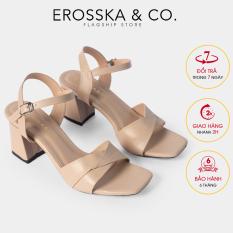 Giày sandal cao gót Erosska thời trang mũi vuông quai ngang bắt chéo cao 7cm EB020 (NU)