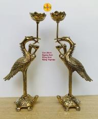 Cặp Hạc cánh đứng Rùa 26CM – Tượng Thờ Đồng Vĩnh Tiến Chất Lượng Cao