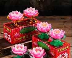 Combo 6 Nến hoa sen – Nến hình cho sen có đế đẹp mắt mang lại may mắn cho gia chủ – Đèn cầy hình hoa sen để thờ – Nến hoa sen trang trí bàn thờ