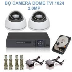 Bộ 2 Camera Dome 24 LED Hồng Ngoại Chuẩn TVI Độ Phân Giải 2.0M Elitek 1024 + Đầu Ghi Elitek + Ổ cứng 160GB