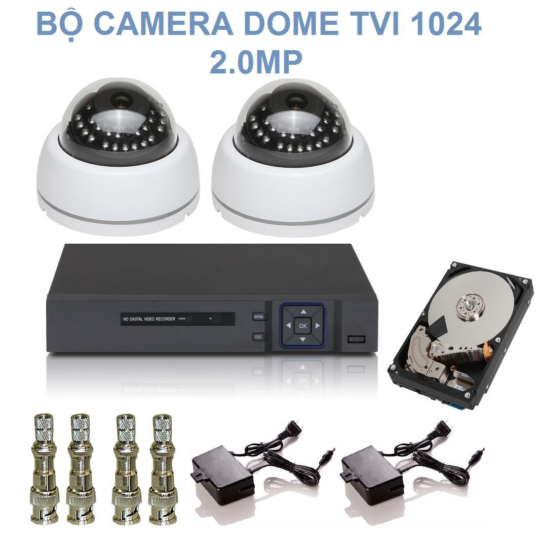 Bộ 2 Camera Dome 24 LED Hồng Ngoại Chuẩn TVI Độ Phân Giải 2.0M Elitek 1024 + Đầu Ghi Elitek...