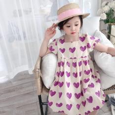 Váy bé gái trái tim tím cổ vuông XHN620