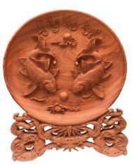 Đĩa gỗ Hương Đá – Lý Ngư Vọng Nguyệt