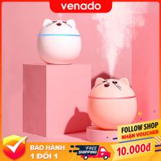 Máy phun sương nano tạo độ ẩm hình Mèo Cute phun khỏe có đèn led đổi màu – Venado