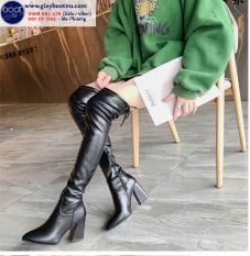 Boot nữ cổ cao gót vuông ngang đùi da bóng GCC0801