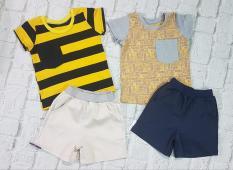 bộ đùi quần kaki áo sọc vàng 10-80kg(1 bộ)
