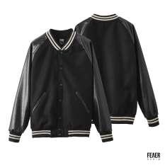 FEAER DENIM – Áo Khoác Nam Bomber Felt & Leather Chất vải nỉ phối da Cao Cấp