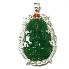 Mặt dây nam bản mệnh ngài Như Lai Đại Nhật màu xanh lá bọc rồng chầu bạc ta cao cấp cho người tuổi Thân – Tuổi Mùi Bạc QTJ – MBM3(XANH LÁ)