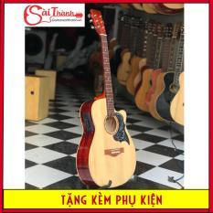 Đàn guitar acoustic có action thấp, khóa đúc chống gỉ, âm vang và sáng + Tặng Bao da + pick gãy + sách hướng dẫn + dây sơ cua + dây jack kết nối amly