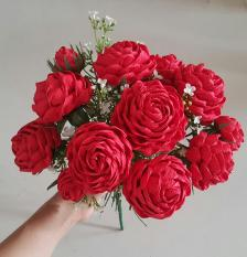 10 Hoa hồng giấy nhún Ý cao cấp đủ màu + 1 cành hoa điểm