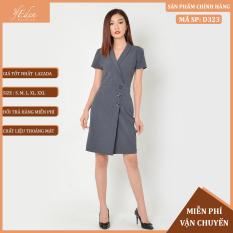 Váy Nữ Công Sở Thời Trang Eden Cổ Vest Tay Ngắn. Chất Liệu Cotton Mềm Mại. Hai Màu Xám, Da. Size Từ 43 Đến 60kg – D323