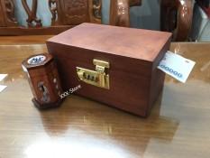 Hộp đựng tiền tiết kiệm mini gỗ Hương có khóa số dành cho trẻ em tặng 1 hộp đựng tăm