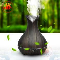 Máy phun sương tạo ẩm, xông tinh dầu sóng siêu âm vân gỗ – Bình hoa