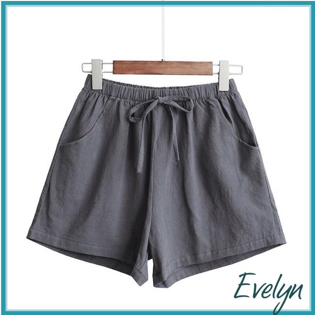 Quần đũi nữ Evelyn cộc ống rộng cạp chun siêu mát , quần đùi nữ kiểu dáng hàn quốc chất mát thoáng