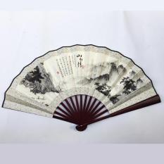 Quạt cổ phong nan dài 31cm quạt xếp cầm tay phong cách Trung Quốc in họa tiết trang trí đẹp