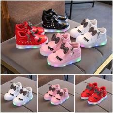 Giày Boot Bé Gái, Bốt Mi Thỏ Có Đèn từ 1 đến 6 tuổi