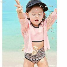 Bikini đi biển đồ bơi 4 chi tiết mũ, áo, quần và áo khoác cực xinh cho bé
