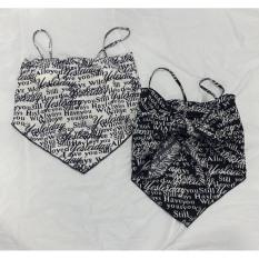 Áo kiểu nữ yếm nhọn chữ cột nơ lưng có mút lót ngực chất vải Voan dày dặn