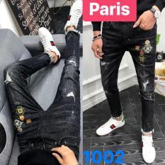 QUẦN JEAN NAM ĐEN THÊU WASH ROYAL VƯƠNG NIỆM HOT NHẤT 2019 PR-CJ1002 CAO CẤP – PARIS FASHION