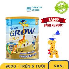 [GIẢM 40K ĐƠN 499K TẶNG LỐCSỮA 60K ]Lon sữa bột Abbott Grow 6+ 900g Tặng Bánh xe nước