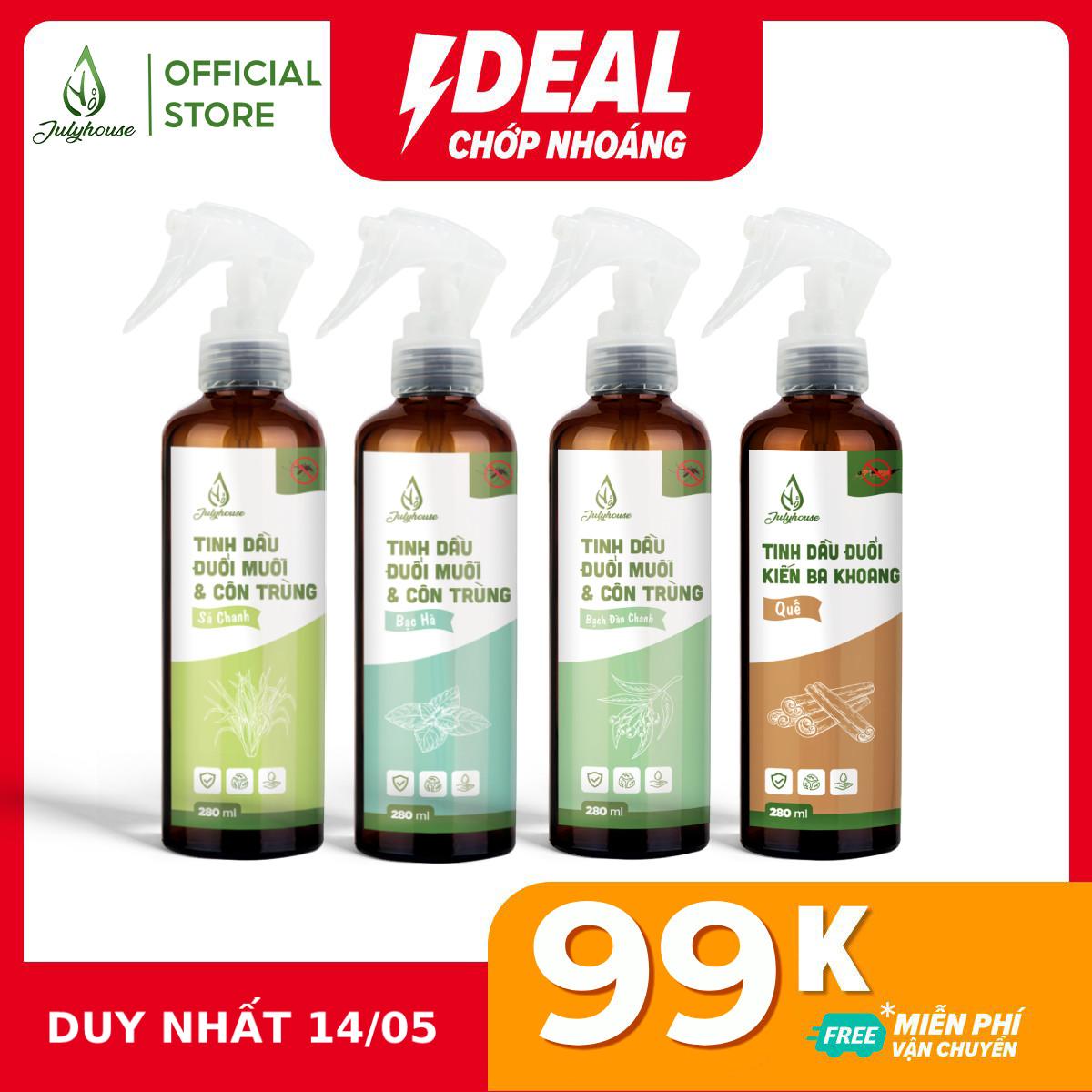 Bình xịt phòng Tinh dầu đuổi muỗi và côn trùng 280ml JULYHOUSE khử mùi hiệu quả siêu tiết kiệm (mùi tự chọn)