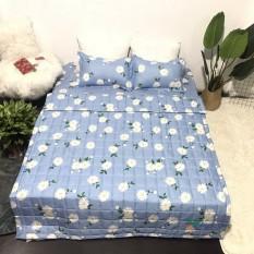 Chăn hè trần bông không lồng ruột (mền) poly cotton mẫu Hoa nhí xanh