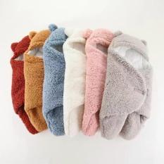 Chăn quấn dạng khăn ủ lông cừu cao cấp hàng dày 3 lớp, giữ ấm cho bé ( dành cho bé từ 0-3 tháng tuổi)