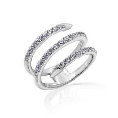Nhẫn nữ Rolling Snake J'admire bạc 925 cao cấp mạ Platinum đính đá Swarovski® trắng size 7