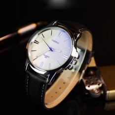 Đồng hồ nam Yazole 332 dây da thời trang cực chất (Viền bạc)