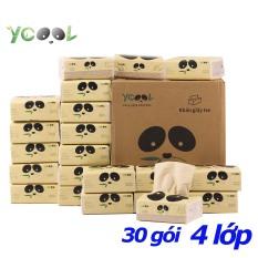 [HCM]Thùng 30 gói Giấy ăn gấu trúc khăn giấy tre YCOOL 260 tờ 4 lớp dai mềm mịn