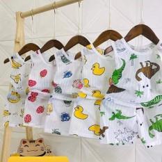 Bộ cotton giấy ba lỗ cho bé 3-15kg, hàng đẹp – BO14